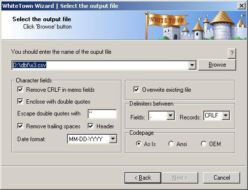 DBF to CSV Wizard