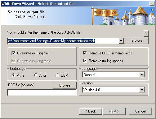 DBF to MDB (Access) Wizard